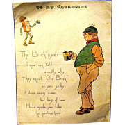 "1902 Comic Valentine by Raphael Tuck and Sons, ""The Bricklayer"""