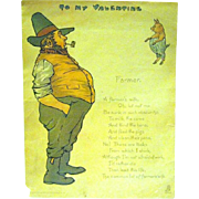 "Edwardian 1902 Tuck Comic Valentine, ""The Farmer"""