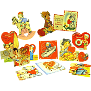 Collection of Twelve Valentines, ca. 1940s