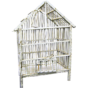 Rustic Vintage White Wood and Wire Bird Cage