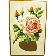 Tuck Valentine Postcard with Embossed Rose, 1911