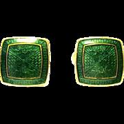 Wearin' of the Green Guilloche Enamel Art Deco Cufflinks