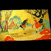 Winter Scene on Art Deco Christmas Cardboard Chocolate Box