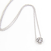 SALE Round Diamond Pendant - 14K White Gold Diamond Necklace