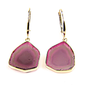 SALE Natural Genuine Watermelon Tourmaline Slice 14K Yellow Gold Earrings - Watermelon Tourmal