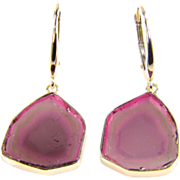 Natural Genuine Watermelon Tourmaline Slice 14K Yellow Gold Earrings - Watermelon Tourmaline .