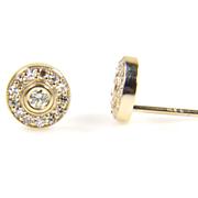 SALE Yellow Gold Diamond Halo Earrings - Diamond Earrings