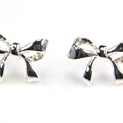 SALE Silver Bow Earrings - Bow Jewelry - Silver Earrings - Bow