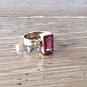 SALE 14K Yellow Gold Rectangle 2.34 carat Pink Tourmaline and Diamond Ring
