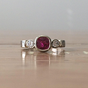 SALE Genuine Ruby and Diamond 14K White Gold Ring - Three Stone Ring - Ruby Engagement Ring -