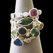 Handmade 0.97 carat Genuine Marquise Cut Green Tourmaline with Diamonds in Yellow Gold - ...