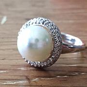 SALE Genuine Round Freshwater Pearl Diamond Halo Sterling Silver Ring - Artisan Rings