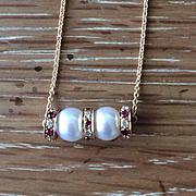 SALE Akoya Genuine White Pearl Pendant with Rubies and Diamond Rhondells - Handmade Jewelry