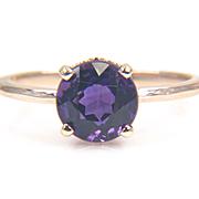 SALE Round Genuine Purple Amethyst 14K Yellow Gold Solitaire Ring - Gemstone Ring - Gold Gemst