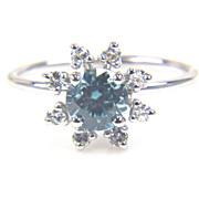 SALE Zircon and Diamond Flower Ring Diamond Flower Ring Round Blue Zircon Ring