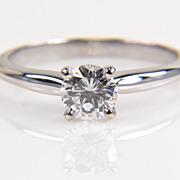 SALE 14K White Gold Round Diamond Solitaire Ring - Half Carat Diamond Ring