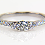 SALE Three Stone Round Diamond Platinum Engagement Ring