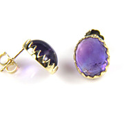 SALE Amethyst Earrings - 18K Yellow Gold Amethyst Earrings - February Birthstone