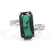 SALE Tourmaline Ring - Tourmaline and Diamond Ring - Cocktail Ring - Large Gemstone Ring - Gre