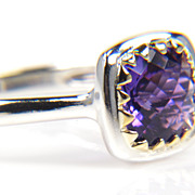 SALE Purple Amethyst Silver and Gold Ring
