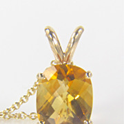 SALE Citrine Pendant - Cushion Cut Citrine - Citrine Gemstone - November Birthstone - Gold Pen