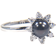 SALE Black Pearl Ring - Diamond and Pearl Ring - Black Cultured Pearl Ring - Diamond Cluster R