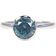SALE Round Blue  Zircon Ring in 14K White Gold