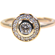 SALE Round Diamond Halo Engagement Ring Ring in 14K Yellow Gold