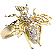 SALE Vintage Gold Bee -Diamond Bee - Gold Bee Ring - Diamond Bug - Diamond Ring