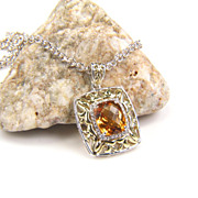 SALE Citrine Pendant - Citrine - Silver Citrine Pendant - Citrine Necklace - Gemstone Diamond