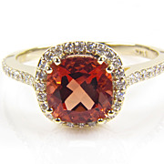 SALE Labradorite Ring - Labradorite and Diamond Ring - Gemstone Ring - Gold Ring - Diamond Hal