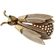 Florenza White Beaded Insect Trembler Brooch