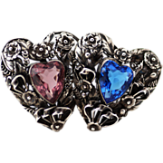 Vintage Sterling Hobé Brooch, Hearts with Open Back Heart Shaped Stones