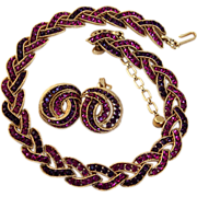 Trifari Cavalcade Magenta and Purple Rhinestone Necklace and Earring Demi