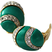 Eisenberg 1970's Turquoise Lucite & Pave Rhinestone Clip Earrings