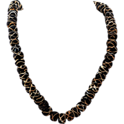 Antique Venetian Black Rattle Snake Glass Beads, African Trade