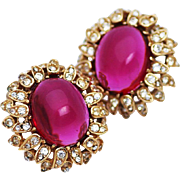 Ciner Red Cabochon and Rhinestone Leaf clip Earrings