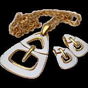 Trifari Modern White Enamel Necklace and Matching Earrings