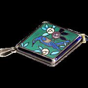 Art Deco Swiss Watch Pendant with Enameled Bird Design