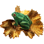 18K Vintage Enamel Green Frog on Lilly Pad, Italy