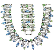 Vintage Coro Pegasus Demi, Bold Blue and Green Rhinestones with Silver-tone Fringe