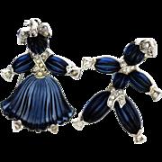 Trifari Tom-Tom and Pom-Pom Rag Doll Glass Brooch Set