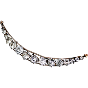 Antique Victorian Crescent Moon Brooch with Brilliant Pastes