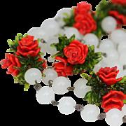 Vintage Art Deco Czech Glass Pate de Verre Red Rose Necklace