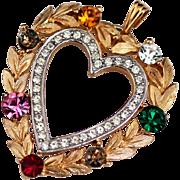 Trifari Heart Pendant Necklace, Dearest Signed