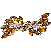 Trifari Topaz and Clear Rhinestone Swag or Bow-like Brooch, 1940s