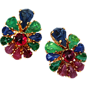 Christian Dior Clip Earrings, Fruit Salad style stones