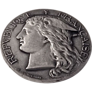 SOLD French Solid Silver 1891 Agricultural Marianne Medal by Ponscarme