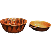 RED WARE CAKE MOLD AND BOWL