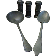 PEWTER SPOONS AND SALT SHAKERS